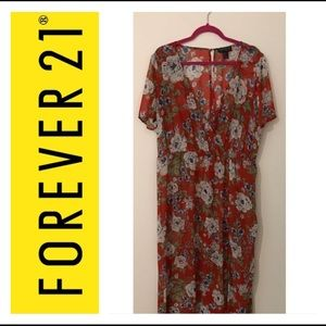 Forever 21+ Sheer Red Floral Maxi
